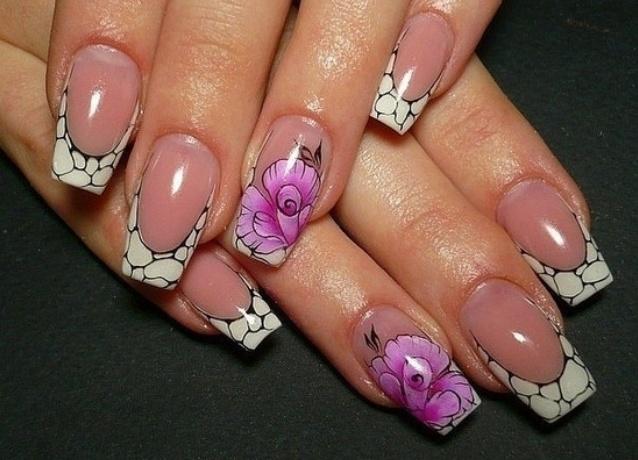 Ногти нарощенные френч квадратные ногти