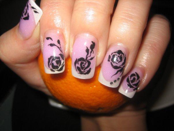Как нарисовать розы на ногтях
