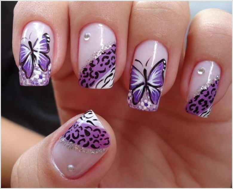Ногти с картинками бабочки