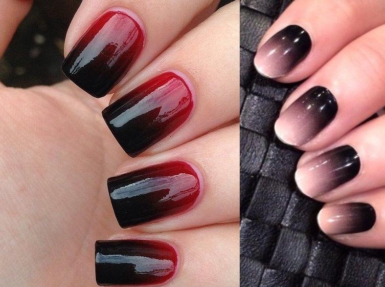Амбре темное на ногтях