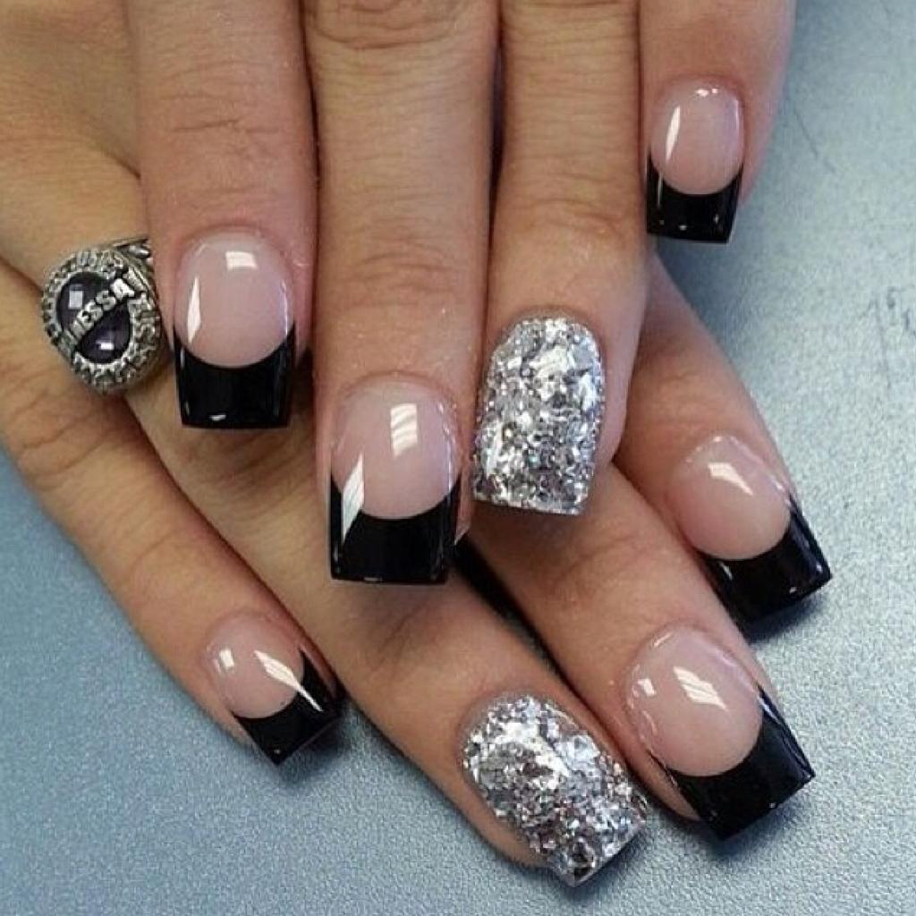 Ногти дизайн фото черные с серебром