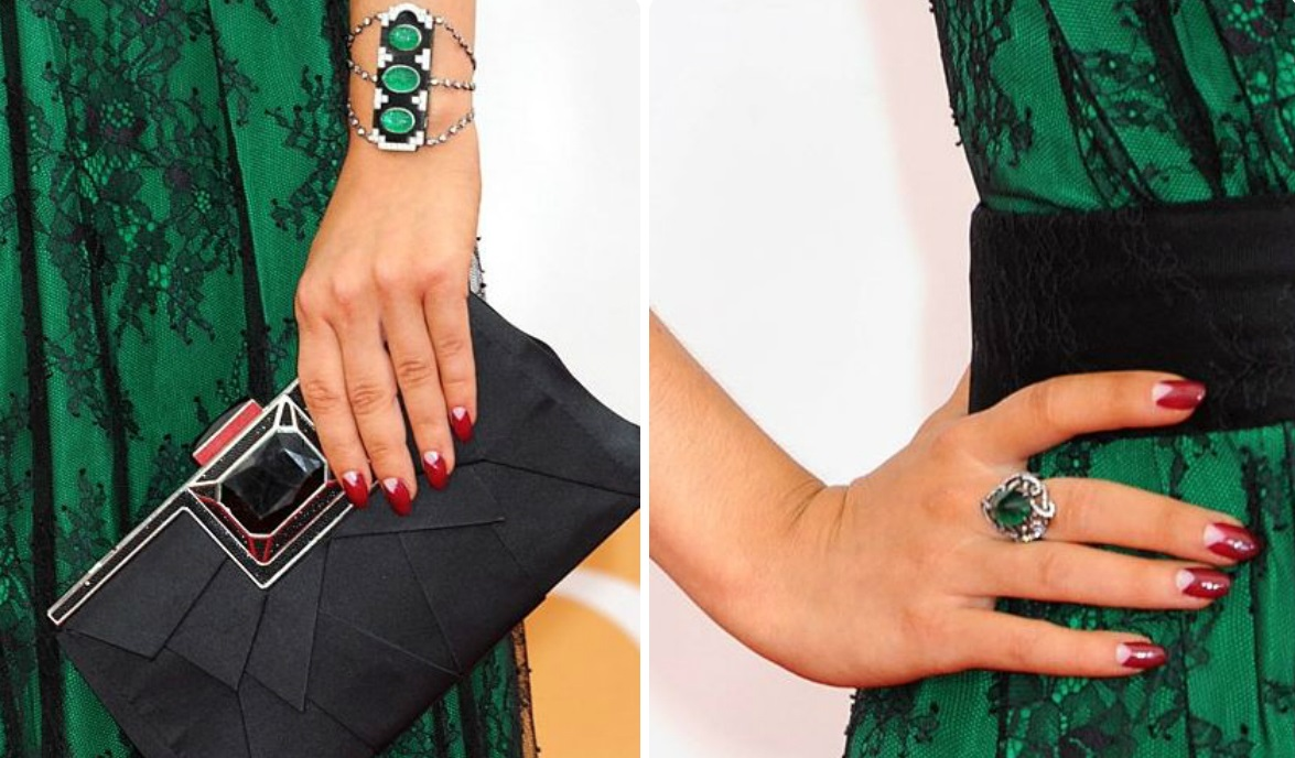 Маникюр к черно-зеленому платью