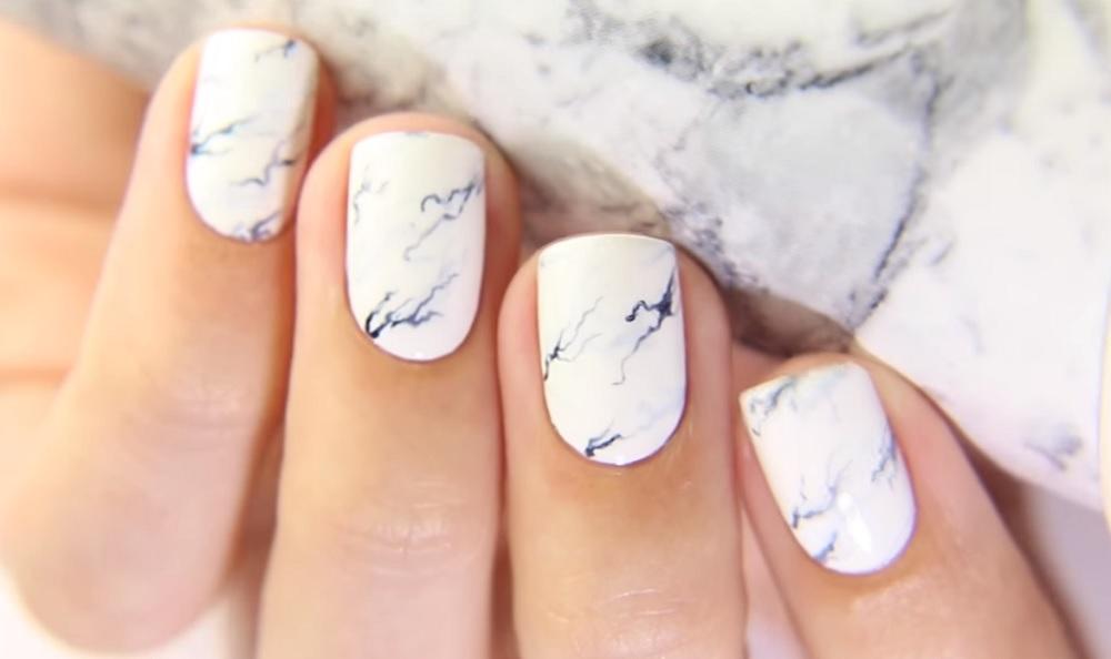 Мраморный дизайн ногтей гель лаком видео