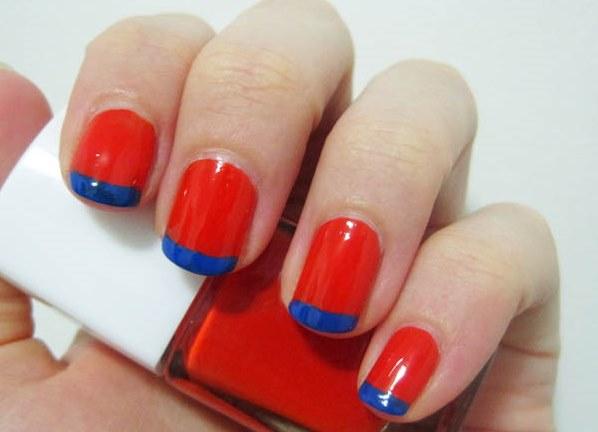 Дизайн ногтей красные с синим 40