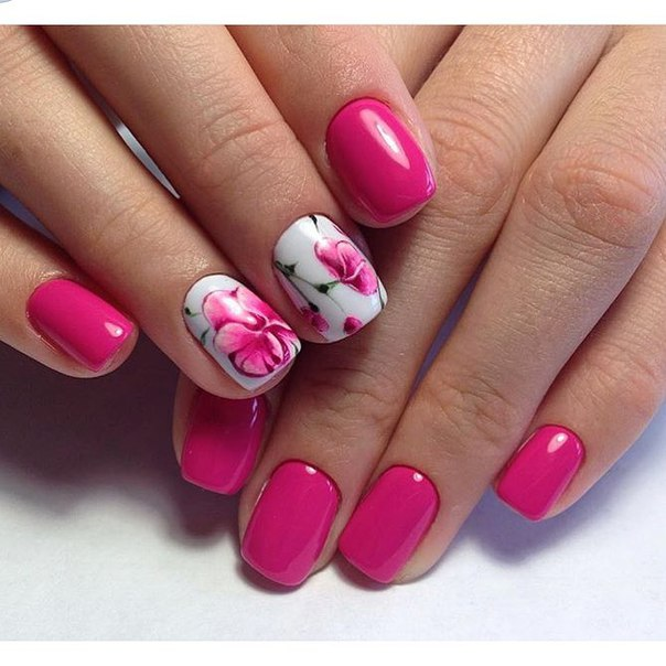 Малиновые ногти дизайн