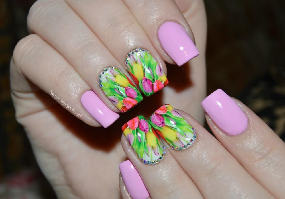 Фото дизайн ногтей тюльпанами